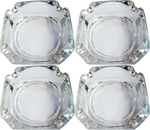 Set of 4 Elegant Round Glass Ashtrays - Beautiful Thick Quality Glass - Perfect for Indoor, Outdoor and Every Room in the House! (4)