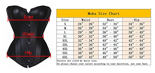 a0fc22f7bf Muka Black Corset Top Faux Leather Waist Cincher Bustier Halloween Costume  6XL - Buy Online in UAE.
