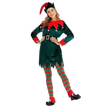 EraSpooky Disfraz de Duende Navideño para Mujer Disfraz Sombrero ...