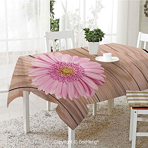 Daisy Balloons Gerbera (Large Family Picnic Tablecloth,Easy to Carry Outdoors,Rustic Home Decor,One Large Gerbera Daisy on Oak Back Dramatic South American Exotic Photo,Pink Brown,59 x 104 inches)