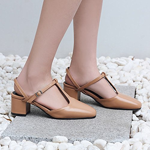 Mee Shoes Women's Charm Square Toe Buckle Court Shoes Apricot SFZ6l