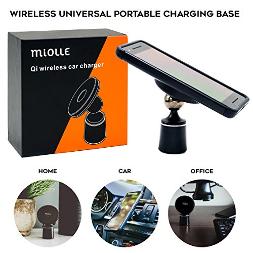 miolle qi car wireless charger pad with air vent mount universal portable charging base for iphone android qi wireless charger devices - qi car charger - quick charge - no magnet needed