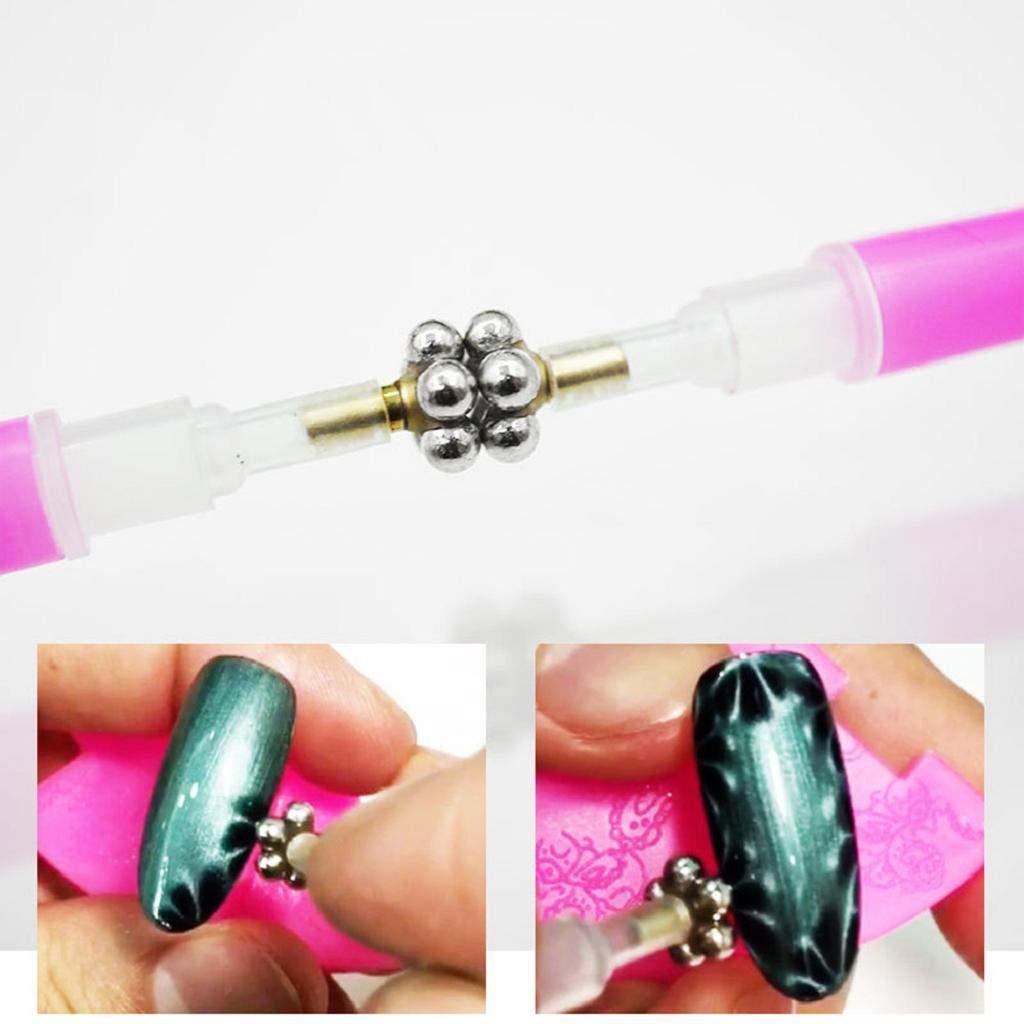 QUICKLYLY Uñas/Manicura- Herramienta De Doble Cabeza Con Varilla Magnética Para 3D Uñas Magnetic Cat Eye Gel Magic Nail Art Manicu: Amazon.es: Belleza