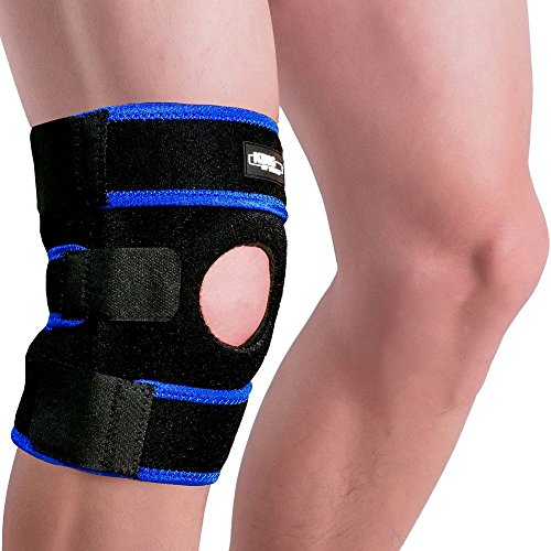 King of Kings Knee Brace Support Sleeve for Arthritis, Meniscus Tear, ACL, Running, Basketball, Sports, Athletic, MCL, Runners - Adjustable Open Patella Stabilizer Protector to Relieve Pain (Blue) by King of Kings