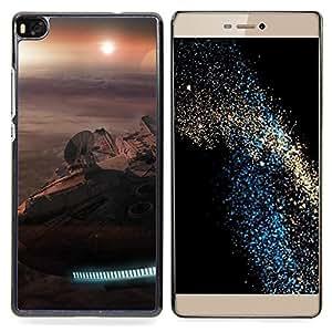 """Qstar Arte & diseño plástico duro Fundas Cover Cubre Hard Case Cover para Huawei Ascend P8 (Not for P8 Lite) (Halcón Milenario"""")"""