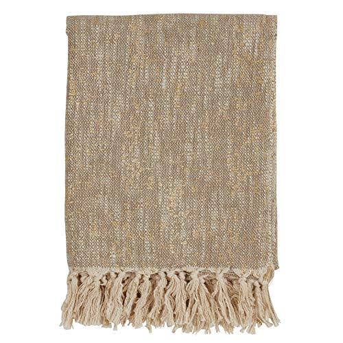 (Fennco Styles Home Decorative Unique Metallic Print Design 100% Cotton Woven Throw Blanket with Tassels, 50