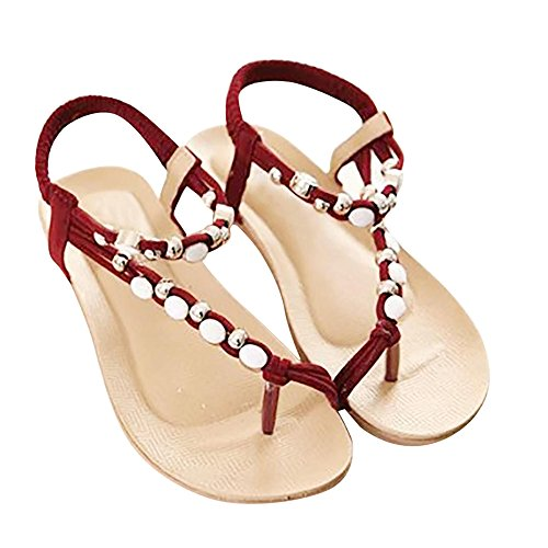 FAMILIZO Bohemia Chanclas Sandalias, Zapatos Planos de Mujer Zapatos de Peep-Toe de Las Sandalias del Ocio Moldeadas (38, Beige)