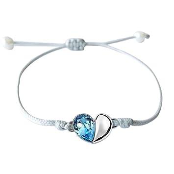 YOOQI Armband Silber Herz Armband Filigranes Frauen Armband Silber Textil  Band mit Handmade Perfekt Geeignet als c3bc5d5edd
