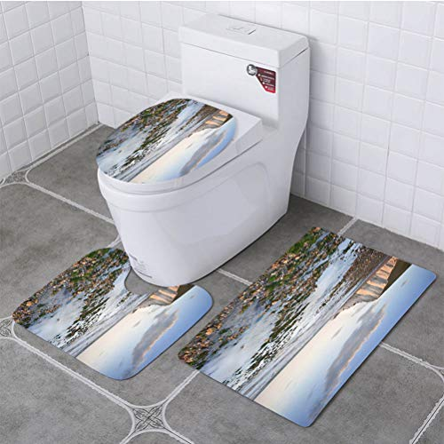- BEISISS Bathroom 3 Piece Set Seven Sisters Cliffs South Downs England Landscape Soft Flannel Cloth Washable Toilet Seat Covers Toilet Lid Covers Cushions Pads Skid Proof Bathroom