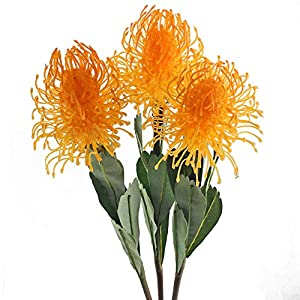 GTIDEA 3PCS Artificial Leucospermum Branches Fake Flowers Arrangements Faux Plastic Pincushions Outdoor Plants Home Office Wedding Table Centerpieces Decor Orange 54