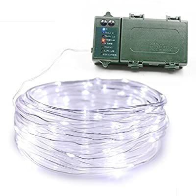Lalapao Rope Lights 120LED Battery Operated String Fairy Christmas Lighting Decor with 5 Modes Optional Automatic Timer For Outdoor Indoor Garden Patio Lawn Holiday Bedroom Wedding Decorations (White)