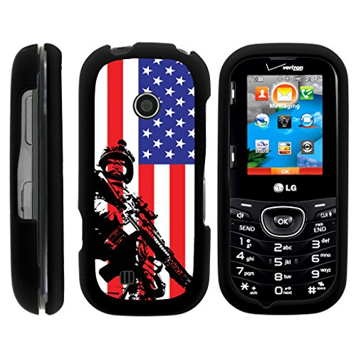 TurtleArmor | LG Cosmos 2 Case VN251 | LG Cosmos 3 Case VN251S [Slim Duo] Ultra Slim Hard Matte Coat Grip Protector 2 Piece Snap On Cover on Black War and Military Design - American Soldier