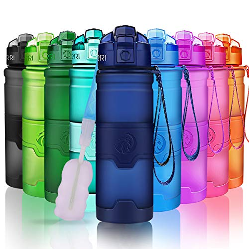 ZORRI Sports Water Bottle Leak Proof, BPA Free Reusable Portable Sports Bottle for Outdoors, Cycling, Camping, Hiking, Fitness, Running, Gym Bottles with Filter, One Click Flip Cap – for Kids/Adults