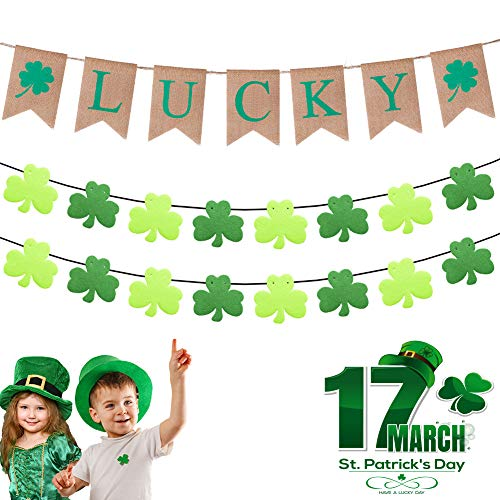 St Patrick Decorations (DMIGHT St.Patricks Day Decorations,2 Felt Shamrock Clover Garland+ 1 Lucky Burlap Banner,St. Patrick 's Day Banner Decor perfect for Irish party supplies- Green and Light Green)