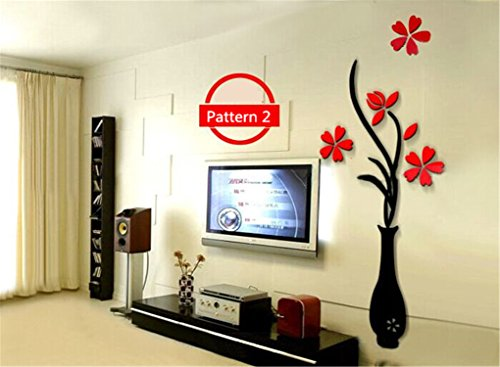 5 Size Colorful Multi-Pieces Flower Vase 3D Acrylic Decoration Wall Sticker DIY Art Wall Poster Home Decor Bedroom Wallstick Pattern 2 L ()
