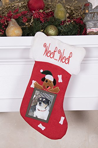 Puppy Dog Hanging Christmas Stocking | For Kids & Adults | 4''x5'' Picture Frame | Red & White Woof Woof Holiday Decor Theme | For Small Gifts, Stocking Stuffers, & Candy | 18.5'' Tall by Clever Creations (Image #2)