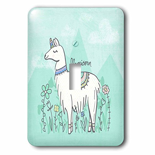 3dRose Noonday Design - Animals - Funny mythical llama crossed with a unicorn, a llamicorn - Light Switch Covers - single toggle switch (lsp_281733_1) by 3dRose