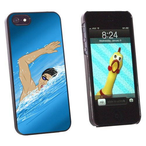 Graphics and More Swimming - Swim Freestyle Pool Sport Snap-On Hard Protective Case for Apple iPhone 5/5s - Non-Retail Packaging - Black