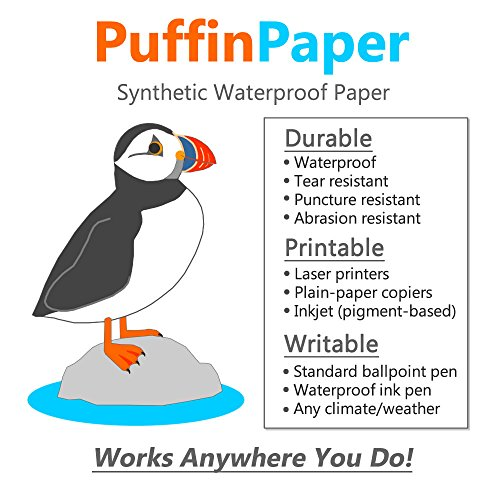10 Mil Paper - Puffin Paper - Synthetic Waterproof Paper - 25 sheets - 10 mil - 8.5x11 inches