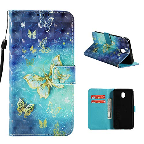 Galaxy J3 2018 Case, Galaxy J3 Achieve Case, Fashion Printed Wrist Strap Flip Folio Kickstand Feature PU Leather Wallet Cover with ID & Credit Card Pockets Magnetic Closure Protective Cover, Butterfly