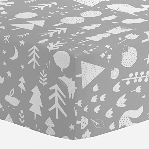 Carousel Designs Silver Gray and White Baby Woodland Crib Sheet - Organic 100% Cotton Fitted Crib Sheet - Made in the USA by Carousel Designs