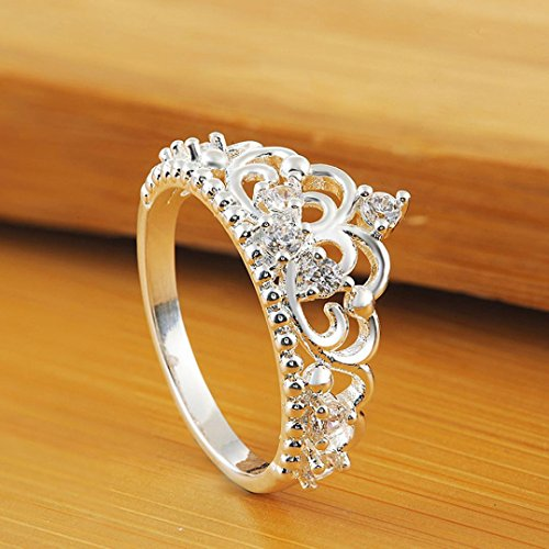 Malloom Princess Queen Crown Ring Design Wedding Engagement Crystal Ring Fashion Jewelry (8, Silver)