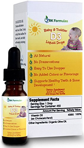 Baby D3 Drops by RK Formulas • D3 Drops for Babies & Toddlers • 400 IU • Essential for Healthy Bones and Tooth Development For Sale