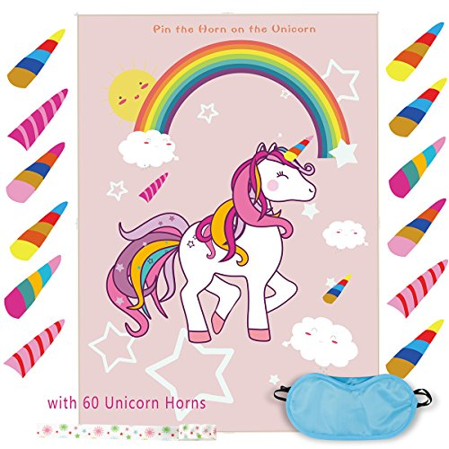 Pin The Horn on The Unicorn Game Birthday Party Favor Games Unicorn Party Supplies Unicorn Gifts,with 60 Horns (1) ()