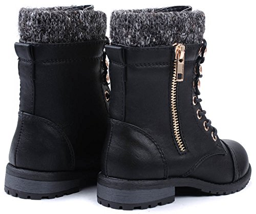 Heel JJF Lace Military Mango Combat Kids Link Boots Up Round Black Toe Cuff 31 Low Ankle Knit Shoes r8B6qwr