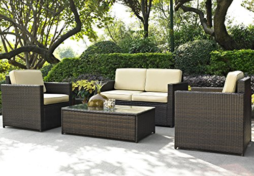 Crosley Furniture KO70001BR Palm Harbor Four Piece Outdoor Wicker Seating - 3 Wicker Piece Resin