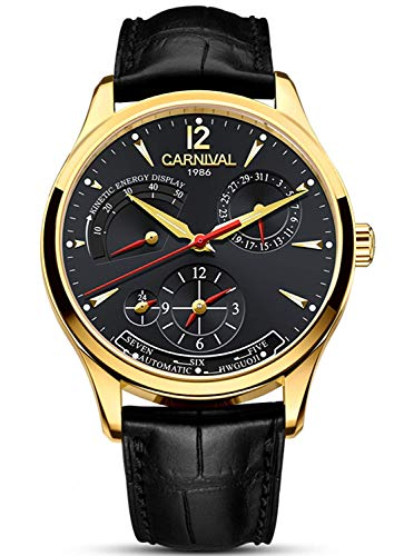 - Mens Power Reserve Display Automatic Mechanical Watches Full Stainless Steel Waterproof Swiss Watches (Black Leather/Gold Black)