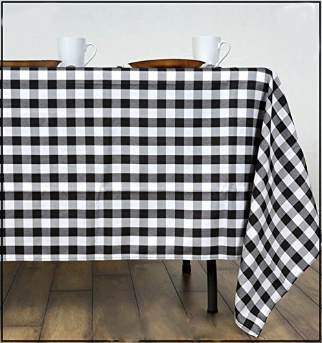 GFCC 60x102-Inch Rectangular Polyester Tablecloth Checker,Black and White by GFCC (Image #3)