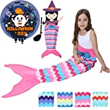 Halloween Mermaid Tail Blanket for Girls Flannel Warm All Seasons Wearable Blankets Sleeping Bags Cosplay party favors Best Great Gift for Friends Family Apply to Bedroom Sofa Beach Outdoor Role Play