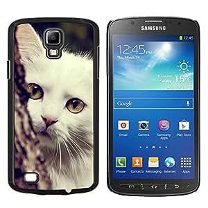 Angora turco blanco gato de Shorthair- Metal de aluminio y de plástico duro Caja del teléfono - Negro - Samsung i9295 Galaxy S4 Active / i537 (NOT S4)