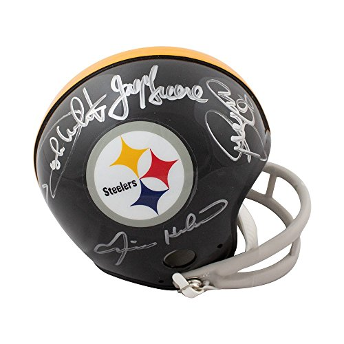 (Steel Curtain Autographed Pittsburgh Steelers Throwback Mini Football Helmet JSA)