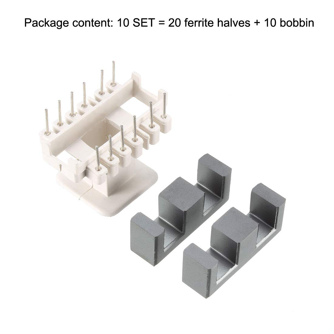 10 Sets EE35 6 with 6pin Transformer Bobbin PC40 Ferrite Core Vertical 20 Halves of ferrite and 10 Coil
