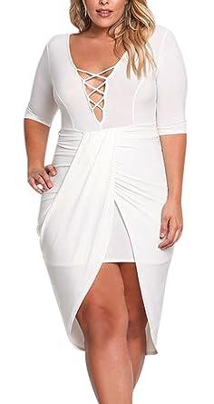 Gloria&Sarah Women\'s Plus Size V Neck Cross Strap Half Sleeve High ...