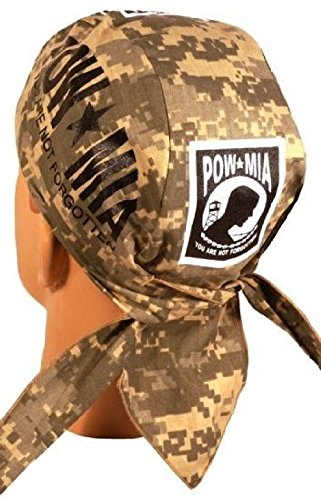 Acu Camo Pow Mia Large Logo With Sweatband Headwrap Doo Rag ()