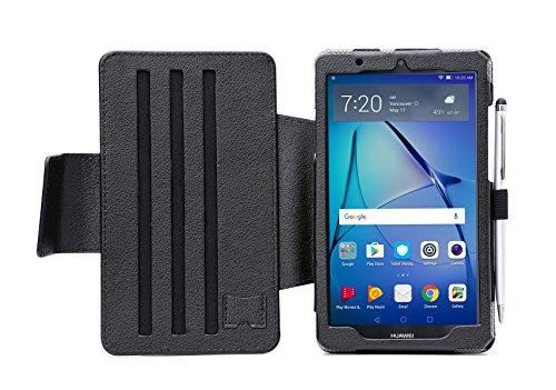 i-UniK Huawei MediaPad T3 7 case, Slim Folio Kickstand Huawei MediaPad T3-7 Tablet Case [Bonus Stylus] (Black) (Huawei Mediapad Case)