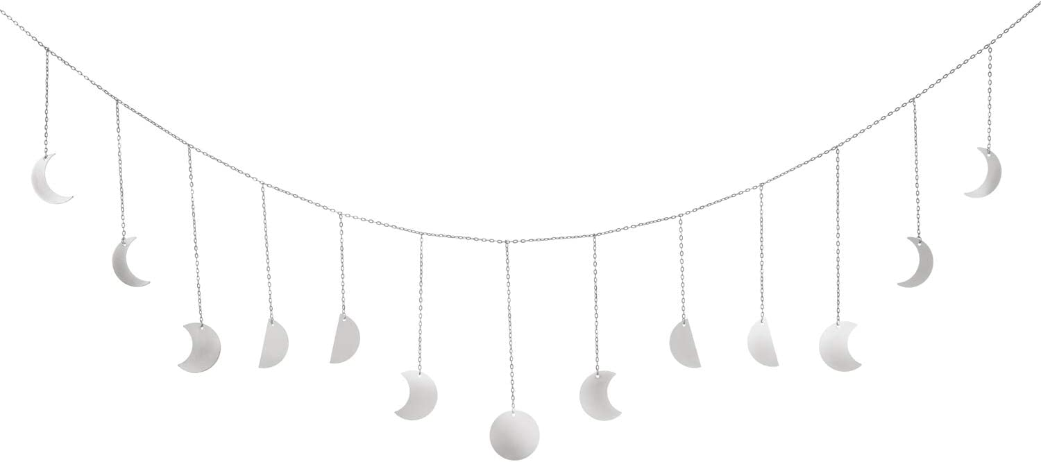 Dahey Moon Phase Wall Hanging Moon Phases Wall Art Boho Home Decor for Bedroom, Living Room, Apartment or Dorm,Silver