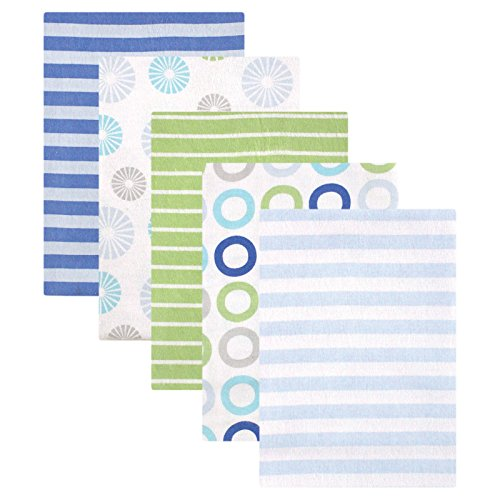 Luvable Friends Flannel Receiving Blankets, Blue Pinwheel, 5 (Blue Receiving Blanket)