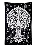 RAJRANG Lord Buddha Tree Tapestry Meditation Yoga Décor Black White Hippie Style Art Wall Hanging