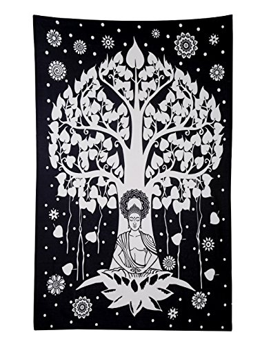 RAJRANG BRINGING RAJASTHAN TO YOU Lord Buddha Tree Tapestry - Meditation Yoga Decor Black and White Hippie Style Art Wall Hanging - 84 x 54 Inches ()