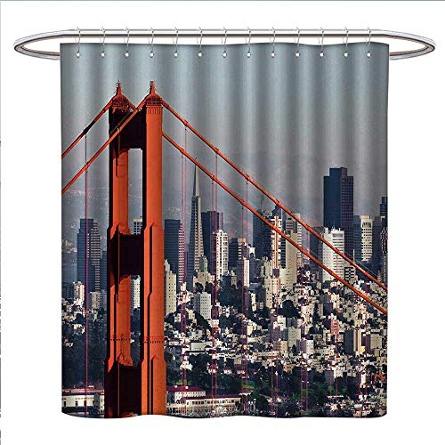 Anniutwo United States Shower Curtains Mildew Resistant San Francisco Bridge and Cityscape Metropolis Financial District Satin Fabric Bathroom Washable W69 x L70 Orange Baby Blue White from Anniutwo