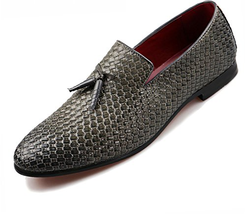 On Pigskin Casual amp; Men Gray Size Big 37 Slip Shoes Leather PERFECY 48 Loafers Shoes Genuine SXzaqq0g