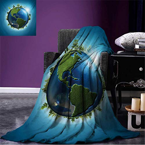 (Anniutwo Earth Cool Blanket Planet Covered with Blue Seas and Forest Continents Trees Greenery Nature Pattern Blue Green Pale Blue W50 x L30 inch)
