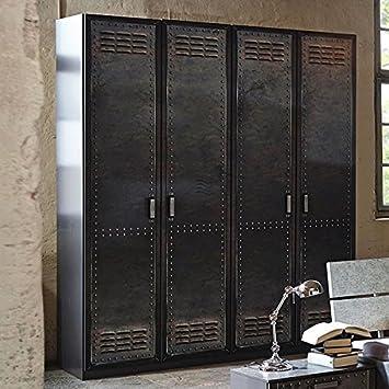 Kleiderschrank 4 Dreh-Türen B 181 cm Industrial-Print-Optik Schrank ...