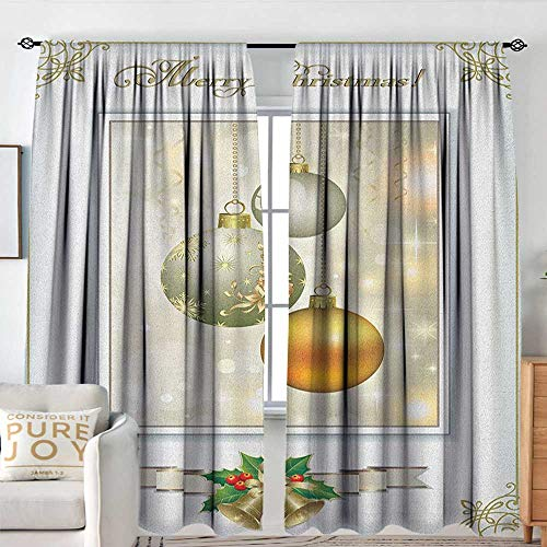 Petpany Window Blackout Curtains Christmas,Ornate Framework with Celebratory Elements Vibrant Balls and Swirls, White Gold and Silver,for Room Darkening Panels for Living Room, Bedroom ()
