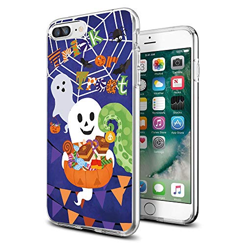 Cocomong Cute Halloween Trick or Treat Ghosts Clear iPhone Case for iPhone 8 Plus/iPhone 7 Plus Designer for Women Girls Men ()