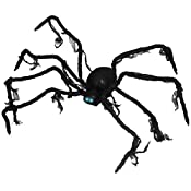 """Halloween Haunters Animated 42"""" Scary Black Spider with Shaking Moving Legs Prop Decoration - Creepy Sounds, LED Eyes - Battery Operated A creepy black realistic 3.5 foot spider wilt 8 legs and 4 its legs move up and down and shake it around. This ma..."""